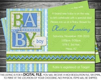Boys Baby Shower Invitation - Scrapbook Theme, Blue, Green, Printable, Digital