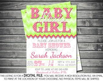 Girls Baby Shower Invitation - Chevron, Green, Pink, Printable, Digital