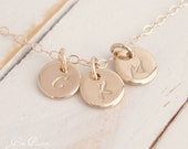 Personalized Mothers Necklace 14k Gold Filled Tiny Disc Initial Monogram Family Necklace, Mothers Day Gift Handmade Hand stamped 3 Disc