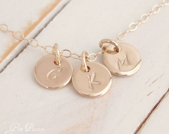 Personalized Mothers Necklace, 3 Gold Tiny Disc Necklace Initial Monogram, Family Necklace, Handmade Custom Hand stamped, Personalized