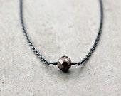 Brown Diamond Necklace, Natural 2 Carat Red Brown Diamond Oxidized Sterling Silver Necklace Minimalist Diamond Jewelry - Sienna