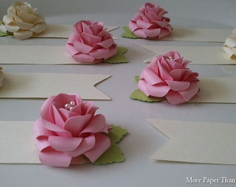 Placecards - Escort Cards - Paper Flowers - Weddings - Shabby Chic - Made To Order - SET OF 100