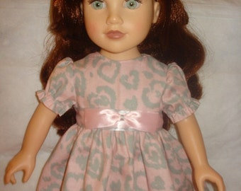 Leopard heart print dress in pink & grey for 18 inch Doll - ag141