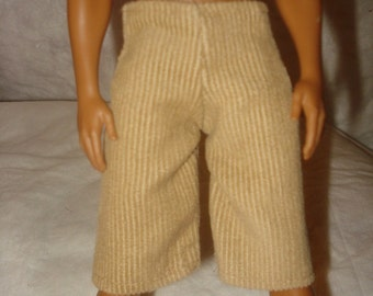 Tan Cordoroy shorts for Male Fashion Dolls - kdc3