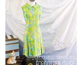 60s - Queenie - butterfly paisley print sleeveless drop waist scooter dress - size M