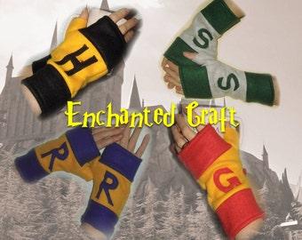 FLEECE Gryffindor, Slytherin, Hufflepuff, Ravenclaw Fingerless Gloves- choose ONE Hogwarts House