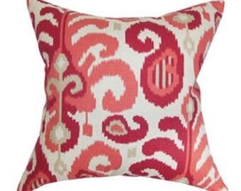 "Pillow, cushion cover 20""   rasberry  geometric, ikat  pattern"