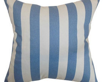 """Pillow Cover Cushion 24x24"""" blue awning stripe in blue available in other sizes beach, ocean"""