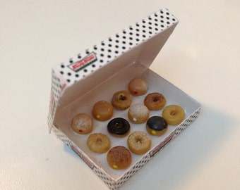 Dollhouse Miniature Food - Krispy  Kreme 12  Donuts in a box 1/ 12 Scale