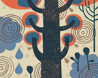 Funky Tree Art Print, Environmental Theme, Folk Art