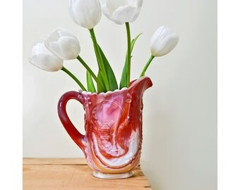 Vintage Vintage Floral Slag Glass Pitcher Red and White Vase with Windmill and Flower Motif