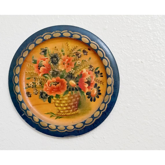 SALE Vintage Tole Plate Wall Hanging Floral By