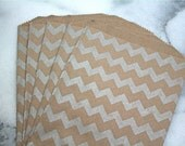 Kraft paper gift bags, 20 Middy Bitty Bags.  Silver chevron pattern on brown kraft paper bag.  Gift bag, favor bag, candy buffet.