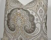 Kravet IKAT Limestone Pillow Cover - Decorative Pillow Cover - throw pillow - accent pillow - designer pillow - gray - tan - taupe - beige