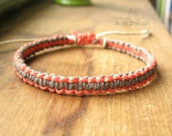 Pink Grey Bracelet, Hemp Macrame Woven Knot Friendship Bracelet