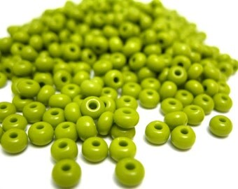 Seed Beads, Olive Green Glass Sead Beads, Size 6/0 4mm, 1oz