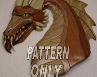 "Pattern of Intarsia 'Dragon Green Eyed' 14 1/2"" x 20"" Intarsia Original"