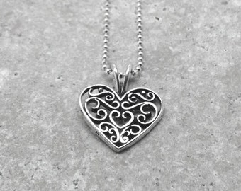 Filigree Heart Necklace, Sterling Silver Jewelry, Heart Necklace, Filigree Necklace, Charm Necklace, Heart Jewelry, Heart Pendant, Hearts