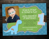 Dinosaur Birthday Invitations -- printable design in any color customized with your photo