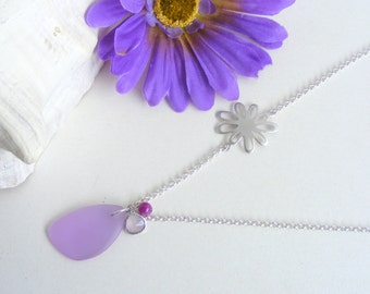Summer necklace and earrings set, sterling silver and matte silver