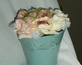 Silk Floral Arrangement in Aqua Ceramic Vase