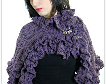 CROCHET PATTERN: Ruffled Capelet Crochet PDF Pattern- Permission to Sell Finished Product