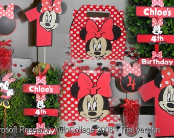 Minnie Mouse Party Package - Red/White