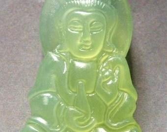 Xiuyan Stone Tibet Buddhist Kwan-Yin Pu-Sa Amulet Pendant 37mm x 20mm  T0343