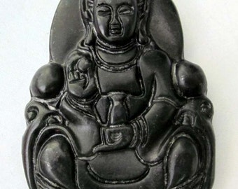 Natural Stone Tibet Buddhist Kwan Yin Pu Sa Amulet Pendant 49mm x 32mm  TH062
