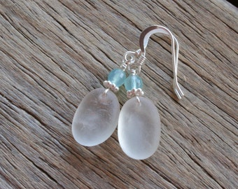 Sea Glass Jewelry White Earrings Chalcedony Sterling Silver