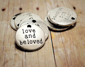 Love and Beloved Positive Quote Charm 8pcs R24855-O06