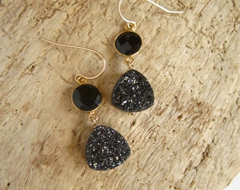 Druzy Earrings Drusy Quartz Gold Vermeil Bezel Set Black Onyx