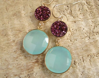 Plum Druzy Earrings Drusy Quartz Sea Green Chalcedony 14K Gold Fill Bezel Set