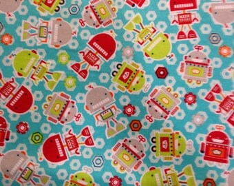 Green and Red Robots - Flannel Fabric - BTY
