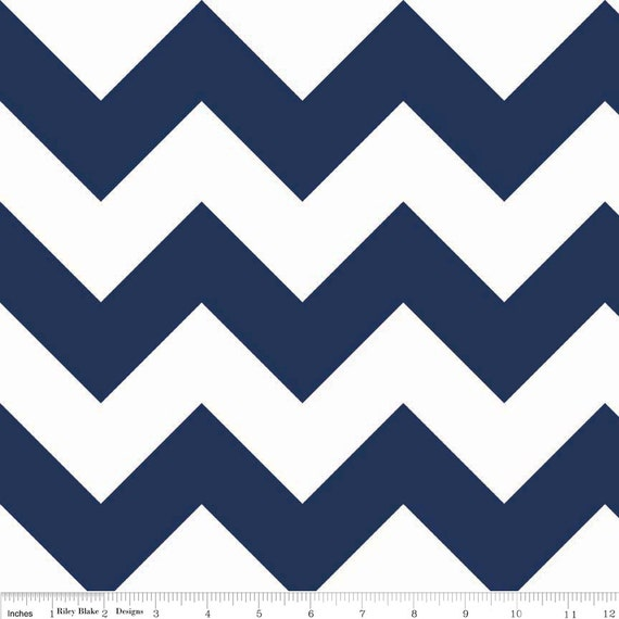 Riley Blake Chevron - Navy - Large - 1 yard