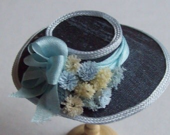 Handmade 1/12 scale dollshouse miniature narrow brim dark grey silk hat