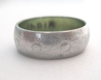 Silver Stacking Ring Vintage Stacking Ring Indian Dotted Silver Band Ring Size 6