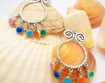 Boho Chandelier Earrings, Colorful Earrings, Bohemian Earrings, Funky Earrings Gypsy Chandelier