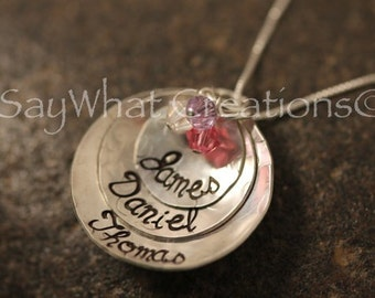 Custom Hand Stamped Stacked Domed and Textured 3 Disk Necklace with 3 names