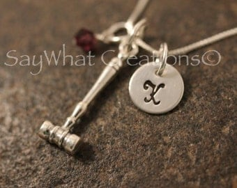 Sterling Silver Mini Initial Hand Stamped Lawyer's Gavel Charm Necklace