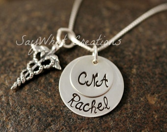 Custom Hand Stamped Sterling Silver Medical Charm Necklace Caduceus