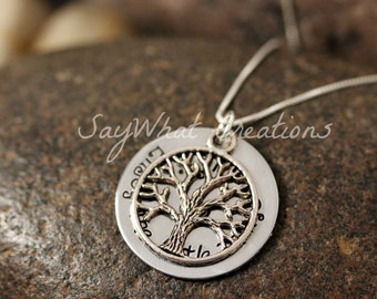 Custom Hand Stamped Family Tree of Life Necklace with hidden message Great for Mothers or Grandmothers