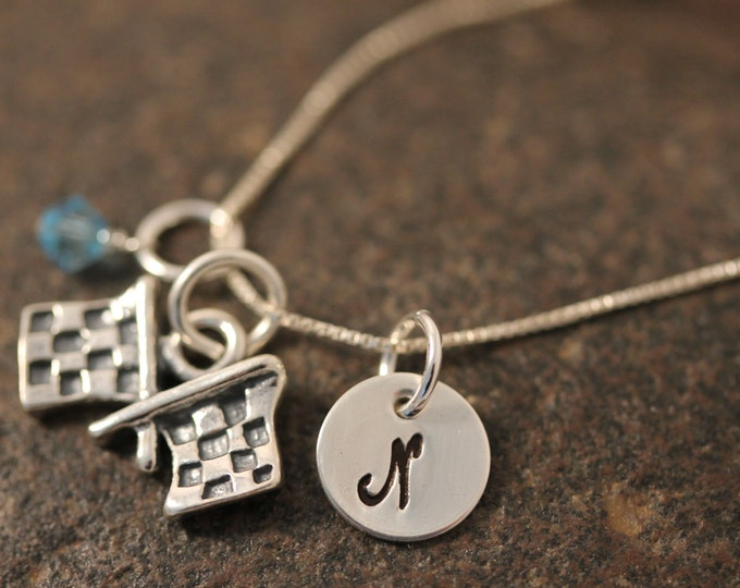 Sterling Silver Mini Initial Hand Stamped Racing Checkered Flags Charm Necklace