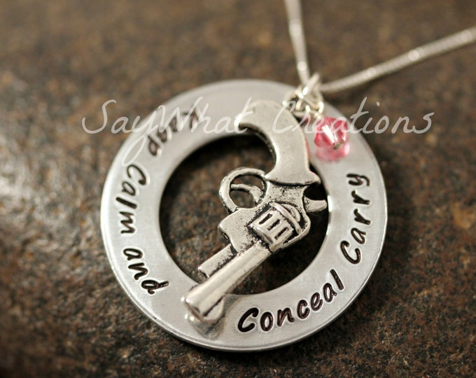 Keep calm and conceal carry hand stamped necklace with gun charm