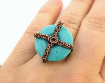 Geometric cocktail ring, turquoise blue jewelry, rustic copper ring, stone statement jewelry