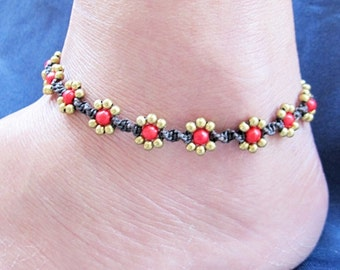 Daisy Flower Line with Red Coral Anklet  A265