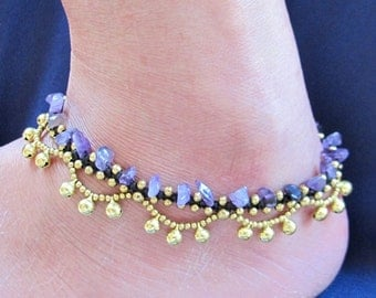 Boho Anklet Little Cascade Brass Bell with Amethyst