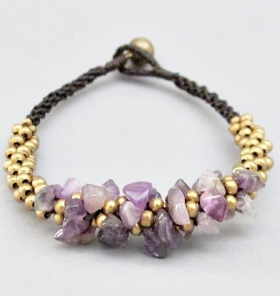 Mala Amethyst Brass Bead Macrame Bracelet