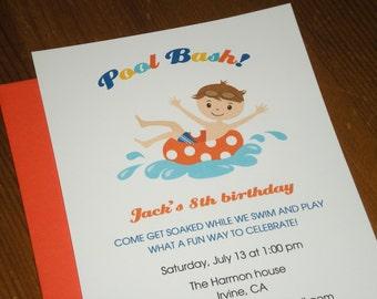 Pool Party : Birthday invitations - boy - Set of 12