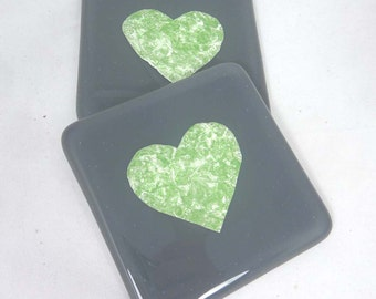 Fused Glass Coasters Slate Grey with Apple Green Valentine Heart  - set of two